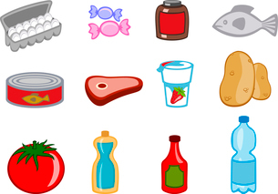 Vector illustration of food icons. You can decorate your website, application or presentation with iのイラスト素材 [FYI03072849]