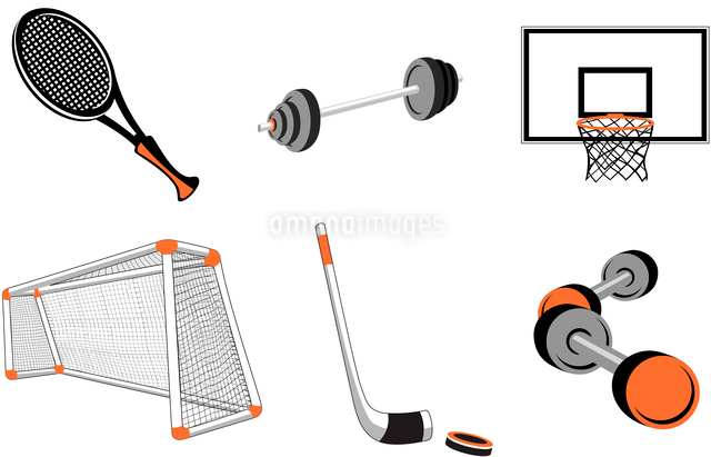Vector illustration of  icon set or design elements relating to sports-football, basketball, tennis,のイラスト素材 [FYI03072851]
