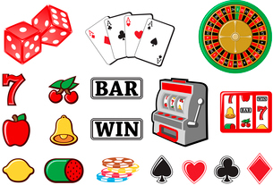 Vector illustration of  icon set or design elements relating to casino.のイラスト素材 [FYI03072853]