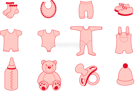Vector illustration set of baby  Clothing and Accessories Iconsのイラスト素材 [FYI03072855]