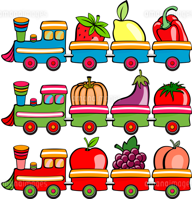 Vector illustration of funny cartoon train, moving  the fruits and vegetablesのイラスト素材 [FYI03072858]