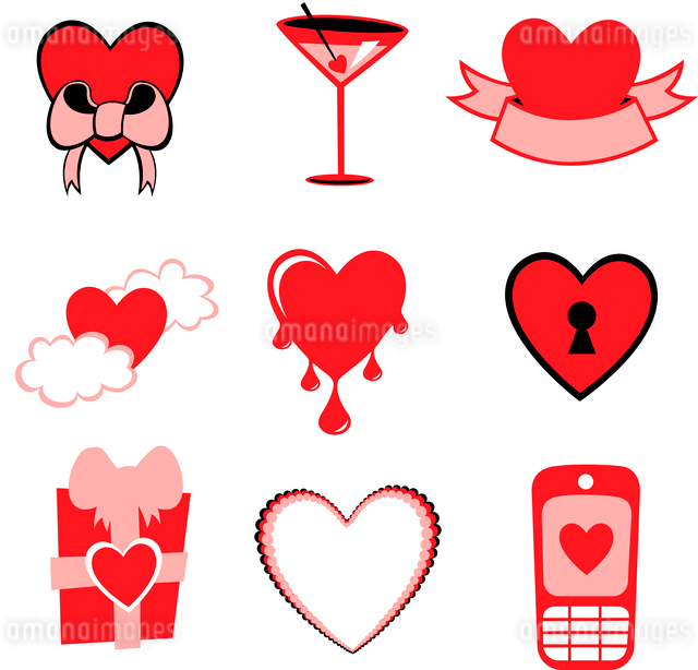 Vector illustration of Love icons.  Ideal for Valetine Cards decorationのイラスト素材 [FYI03072879]