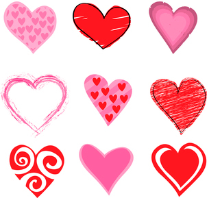 Vector illustration of beautifull hearts icon set. Ideal for Valetine Cards decoration.のイラスト素材 [FYI03072884]