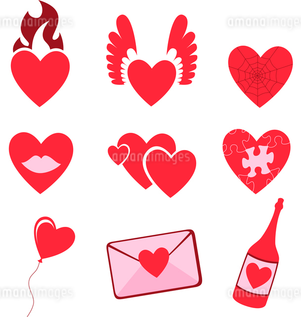 Vector illustration of Love icons.  Ideal for Valetine Cards decorationのイラスト素材 [FYI03072885]