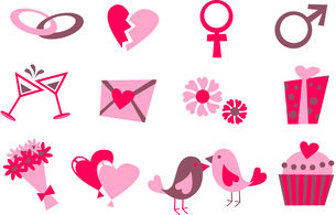 Vector illustration of Love icons.  Ideal for Valetine Cards decorationのイラスト素材 [FYI03072887]