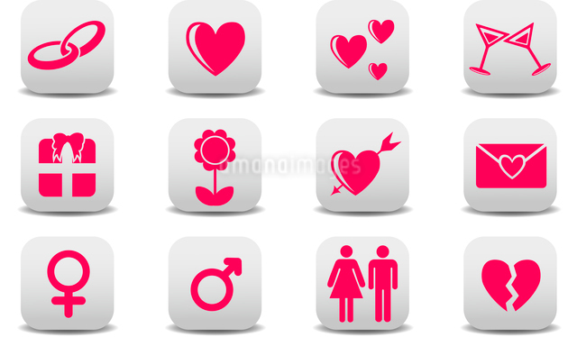 Vector illustration of Love icons.  Ideal for Valetine Cards decorationのイラスト素材 [FYI03072888]