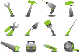 Vector illustration of professional repairing tools icons.のイラスト素材 [FYI03072890]