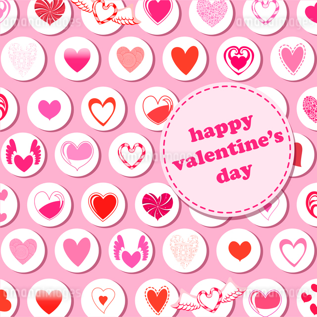 Vector illustration of Valentine's Day pattern, decorated with different kinds of heart.のイラスト素材 [FYI03072892]