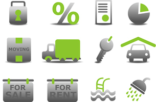 Vector illustration of real estate and moving icons set.You can use it for your website, applicationのイラスト素材 [FYI03072894]