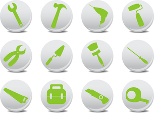 Vector illustration of different kinds of proffesional instruments. Repairing tools icon set.のイラスト素材 [FYI03072897]