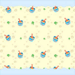 Cartoon vector illustration of retro funky background with cool little Beach Toys and octopusのイラスト素材 [FYI03072939]