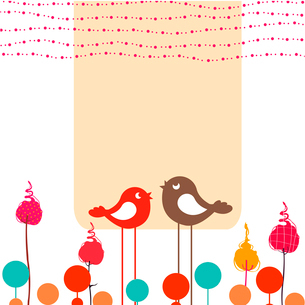 Vector Illustration of retro Flowery design greeting card with two retro-style birdsのイラスト素材 [FYI03072944]