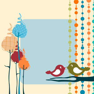 Vector Illustration of retro nature design greeting card with copy space for your textのイラスト素材 [FYI03072945]