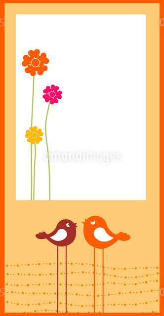 Vector Illustration of retro Flowery design greeting card with two retro-style birdsのイラスト素材 [FYI03072948]