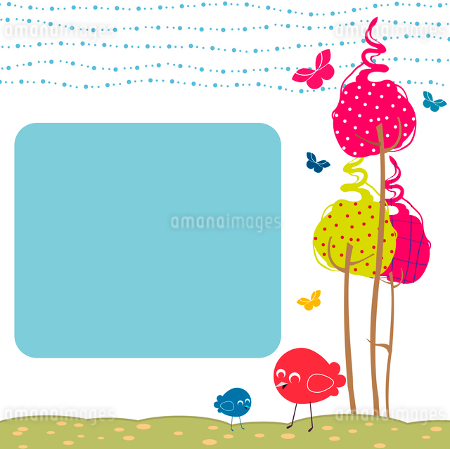 Vector Illustration of retro nature design greeting cards with copy space for your textのイラスト素材 [FYI03072954]