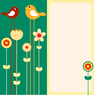 Vector Illustration of retro Flowery design greeting card with two of retro-style birdsのイラスト素材 [FYI03072970]