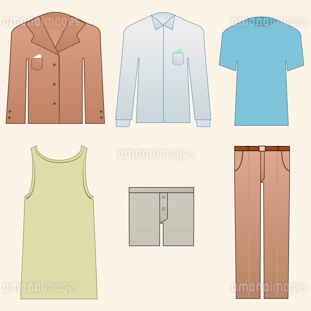 Vector illustration of Men classic clothes icon setのイラスト素材 [FYI03072993]