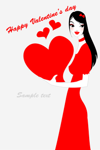 Vector illustration of funky valentine's day gteeeting card with beautiful sexy girl holding big redのイラスト素材 [FYI03073026]