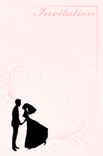 Vector Illustration of funky wedding invitation with funny bride and groomのイラスト素材 [FYI03073027]