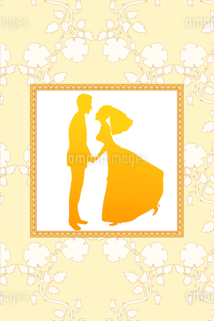 Vector Illustration of funky wedding invitation with funny bride and groomのイラスト素材 [FYI03073029]