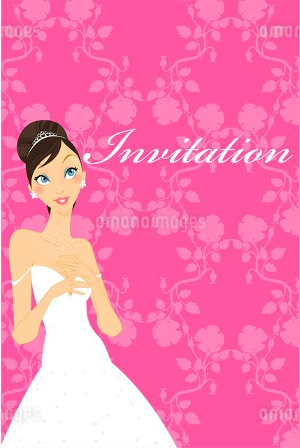 Vector Illustration of beautiful wedding invitation with preety bride.のイラスト素材 [FYI03073033]