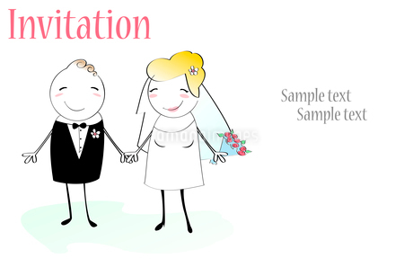 Vector Illustration of funky wedding invitation with funny bride and groomのイラスト素材 [FYI03073034]