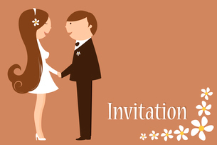 Vector Illustration of funky wedding invitation with funny bride and groomのイラスト素材 [FYI03073036]