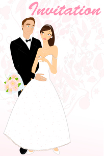 Vector illustration of funky wedding invitation with cool sexy bride and groomのイラスト素材 [FYI03073037]