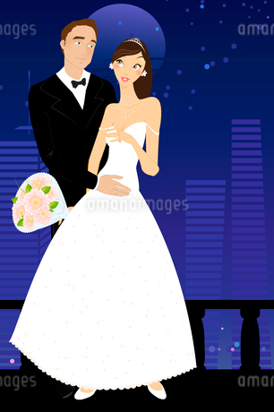 Vector illustration of cool sexy bride and groom on the urban romantic backgroundのイラスト素材 [FYI03073038]