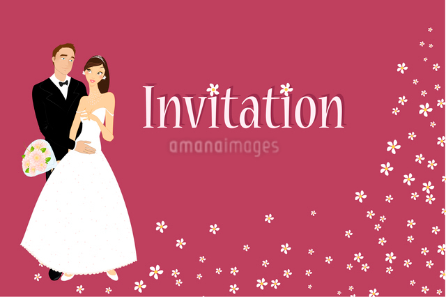 Vector illustration of funky wedding invitation with cool sexy bride and groomのイラスト素材 [FYI03073039]