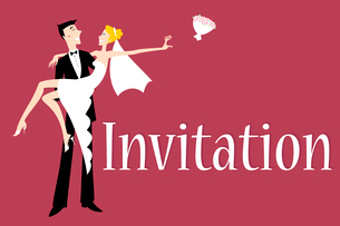 Vector illustration of funky wedding invitation with cool sexy bride and groomのイラスト素材 [FYI03073040]