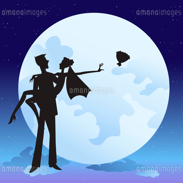 Vector illustration of  bride and bridegroom in  romantic night on the sky background with Giant beaのイラスト素材 [FYI03073043]