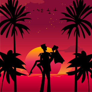 Vector illustration of  bride and bridegroom in  romantic tropical night on the sky background withのイラスト素材 [FYI03073044]
