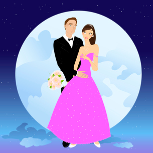Vector illustration of beautiful couple in romantic night on the sky background with Giant full moonのイラスト素材 [FYI03073048]