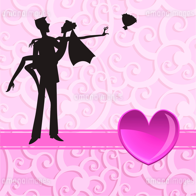 Vector illustration of funky wedding invitation with cool sexy coupleのイラスト素材 [FYI03073050]