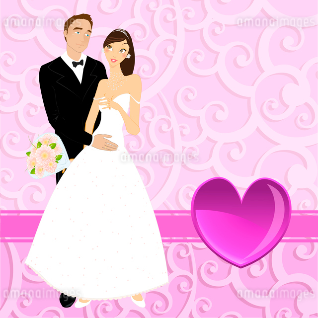 Vector illustration of funky wedding invitation with beautiful sexy coupleのイラスト素材 [FYI03073052]