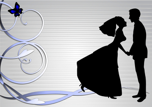 Vector illustration of funky bride and groom on the swirl background. Ideal for wedding invitation.のイラスト素材 [FYI03073056]