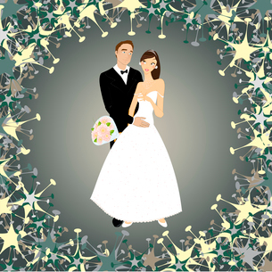 Vector illustration of funky wedding invitation with cool sexy coupleのイラスト素材 [FYI03073060]