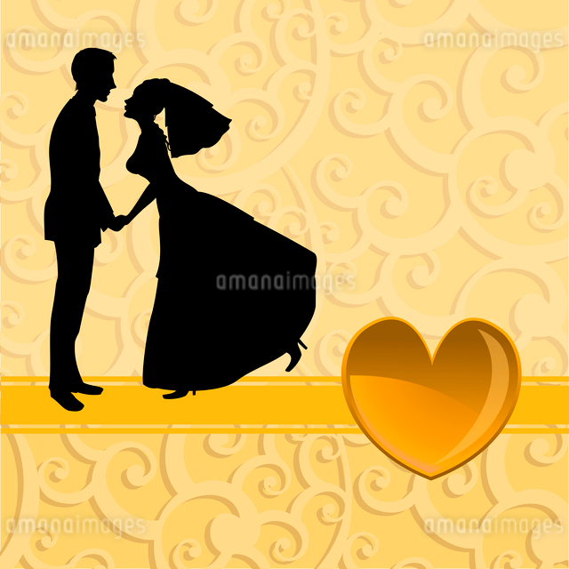 Vector illustration of funky bride and groom on the swirl background. Ideal for wedding invitationのイラスト素材 [FYI03073063]