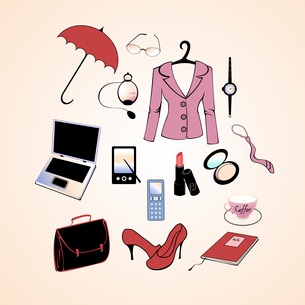 Vector illustration of different items related to business woman lifestyle.のイラスト素材 [FYI03073070]