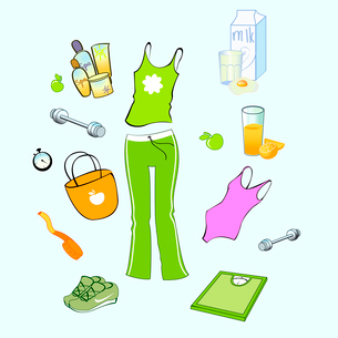 Vector illustration of different items related to sport and healthy lifestyle.のイラスト素材 [FYI03073074]