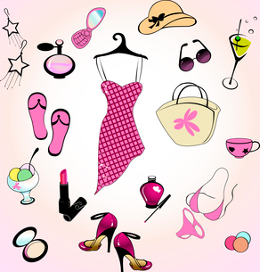 Vector illustration of different items related to glamour summer lifestyle.のイラスト素材 [FYI03073075]