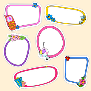Vector illustration of cute retro frames on stickers style with funny elements of lifestyleのイラスト素材 [FYI03073078]