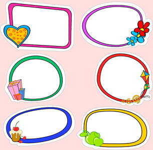Vector illustration of cute retro frames on stickers style with funny elementsのイラスト素材 [FYI03073083]