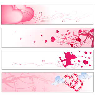 Vector illustration of pink valentine's day  party bannersのイラスト素材 [FYI03073090]