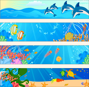 Vector illustration of Colorful banners set with creatures of the seas. Friendly kids style.のイラスト素材 [FYI03073093]