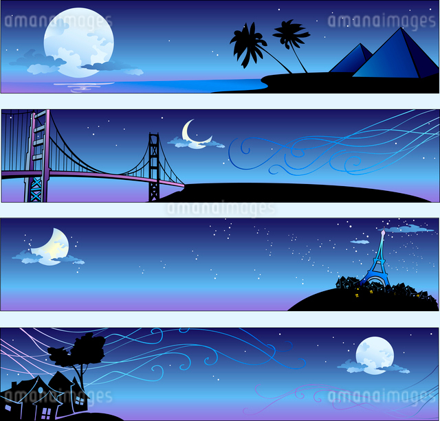 Vector illustration of romantic travel banners set with cartoon  skyline silhouettesのイラスト素材 [FYI03073096]