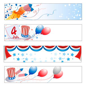 Vector illustration of Colorful  Independence Day bannersのイラスト素材 [FYI03073103]
