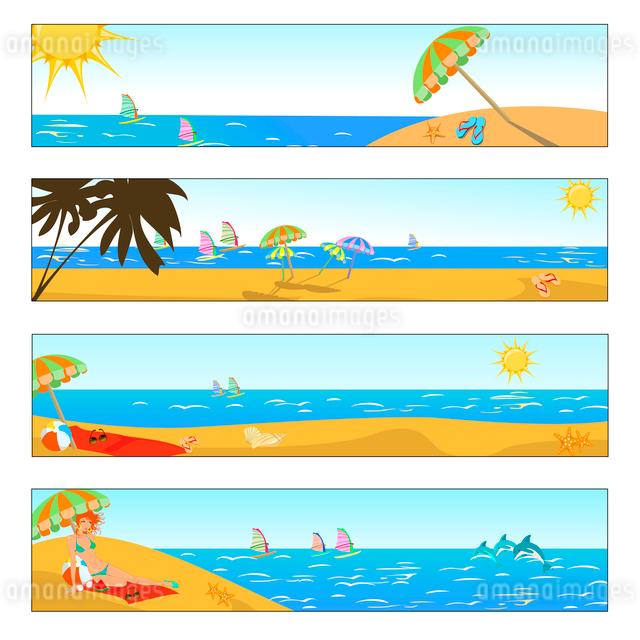 Vector illustration of summer holidays banner setのイラスト素材 [FYI03073107]