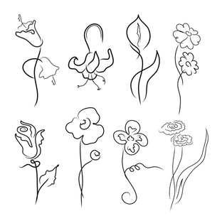 Vector illustration of flowers Design Set made with simple line onlyのイラスト素材 [FYI03073109]